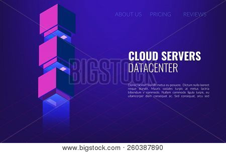 Big Data Datacenter Isometric Concept. 3d Hosting Server Or Data Center Room Background.