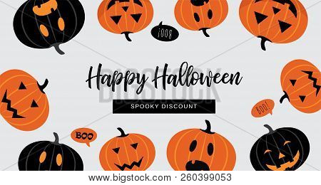 Halloween Sale Banner. Website Spooky Header Or Banner With Halloween Pumpkins. Great For Banner, Vo