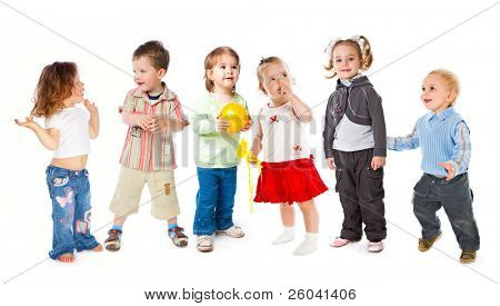 Group of little children. Isolated on white background