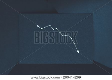 Diagram Pointing Down. Decline Drop Reduction Concept. Exponential Curve On Dark Blue Backdrop.