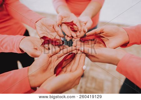 Woman And Healt Ribbons. Lady And Happy Time With Friends. Suppotr People With Illness. Studio And A