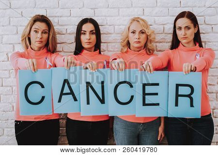 Cancer In The Worl And In People. Disease In Happy Girl. Fashion Time With Girl. And Good Work Help