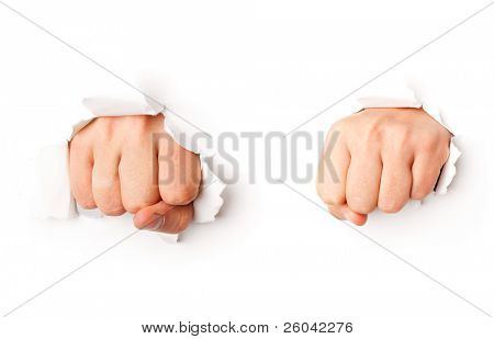 Two fists from paper. Isolated on white background