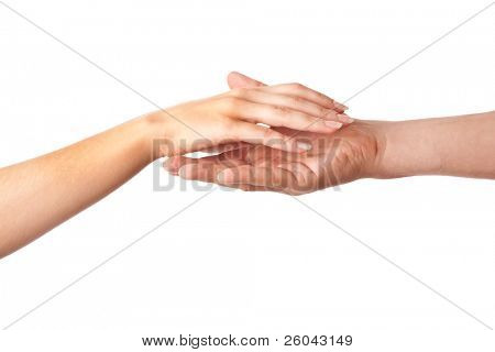 Two hands:  woman and man. Isolated on white background
