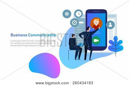 Video Chat Concept. Man Communicates Using Video Chat On Smart Phone. Online Web Chat. Flat Design.
