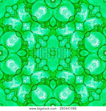 Green Seamless Pattern. Artistic Delicate Soap Bubbles. Lace Hand Drawn Textile Ornament. Kaleidosco