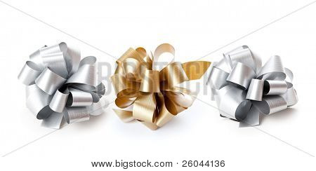 Three bows. Isolated on the white background