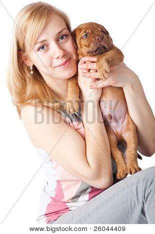 Young girl with puply of Dogue de Bordeaux (French mastiff). Isolated on white background poster