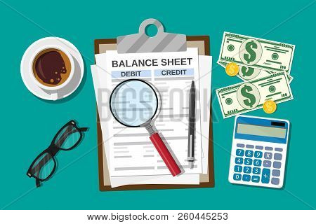 Clipboard With Balance Sheet And Pen. Calculator Money Balance. Financial Reports Statement And Docu