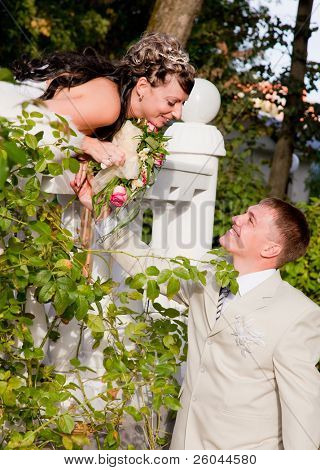 Bride in white dress and bridegroom