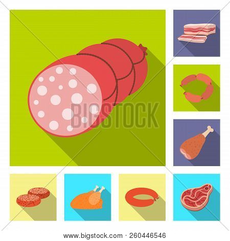 Isolated Object Of Meat And Ham Sign. Set Of Meat And Cooking Stock Vector Illustration.