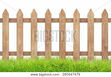 Wooden Fence With Grass Isolated On Wthite With Clipping Path. 3d Rendering