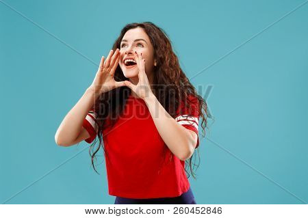 Do Not Miss. Young Casual Woman Shouting. Shout. Crying Emotional Woman Screaming On Studio Backgrou