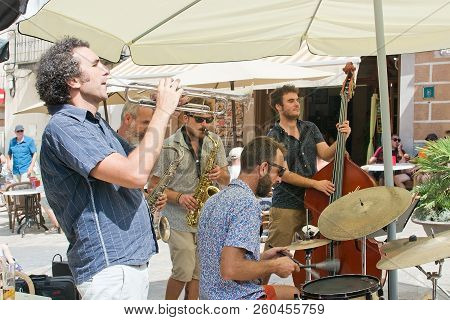 Mallorca, Spain - September 5, 2018: Live Band Playing In The Sineu Market On A Sunny Day On Septemb