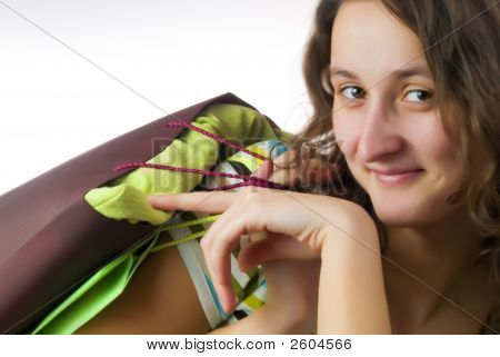 Girl Holding Two Shopping Bags