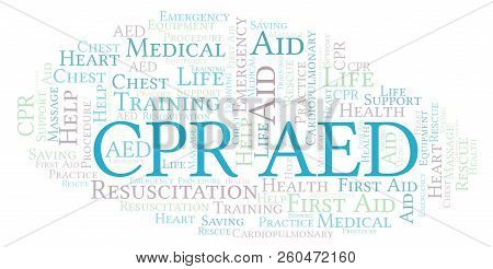 Cpr Aed Word Cloud, Made With Text Only