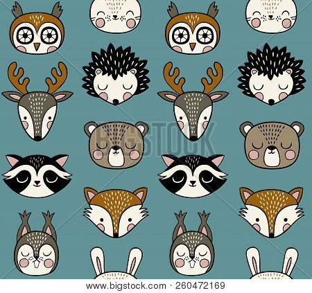 Seamless Vector Pattern With Cute Woodland Animal Heads On Blue Background. Seamless Vector Pattern.