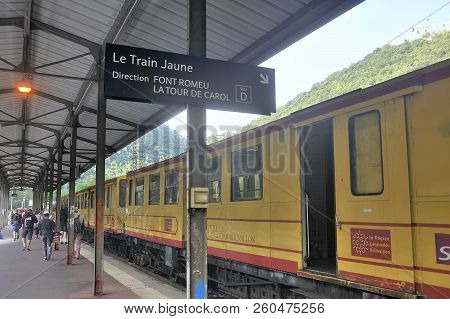 Villefranche, France - September 4, 2018: The Yellow Train Of The Pyrenees In Villefranche Station B
