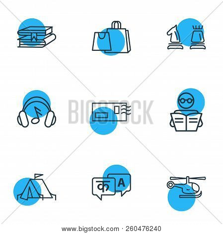 Vector Illustration Of 9 Hobby Icons Line Style. Editable Set Of Chess, Copter, Reading And Other Ic