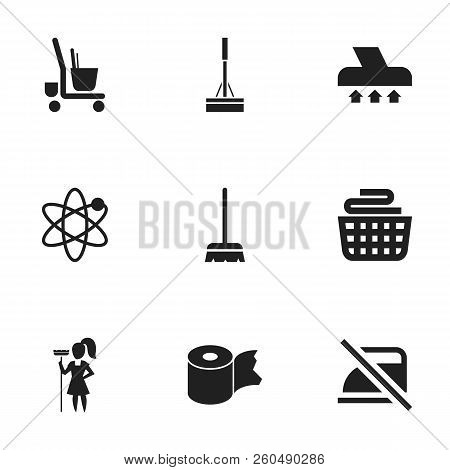 Set of 9 editable cleanup icons. Includes symbols such as cleaner trolley, do not iron, brush and more. Can be used for web, mobile, UI and infographic design. poster