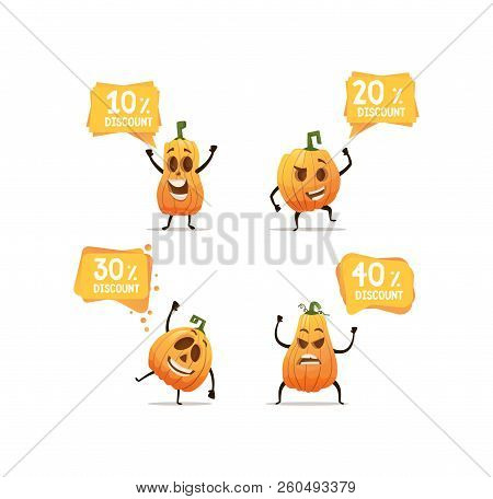 Halloween Pumpkin Heads With Sales Bubbles With Different Emotion With 10 20 30 40 Precent Of Discou