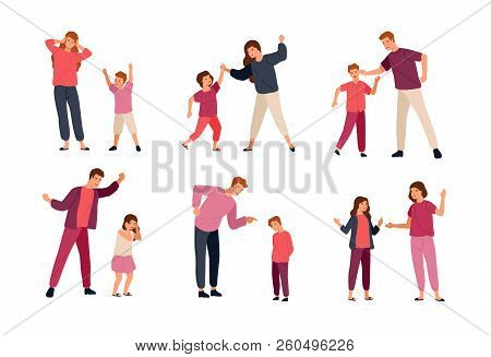 Collection of conflicts between parents and children isolated on white background. Problem of mutual aggression, offensive behavior, disobedience. Colorful vector illustration in flat cartoon style. poster