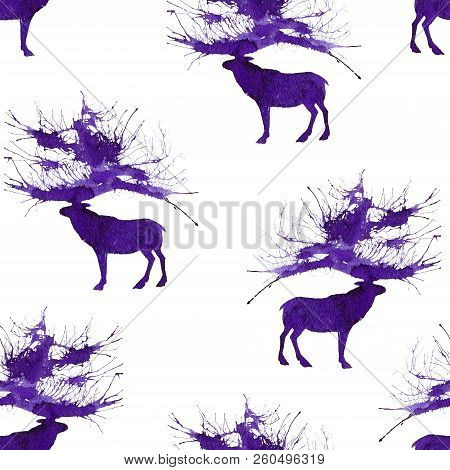 Seamless With Wild Forest Deer. Natural Cliparts For Wedding Design, Artistic Creation.