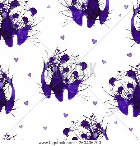 Seamless With Wild Panda On The Background With Hearts. Natural Cliparts For Wedding Design, Artisti