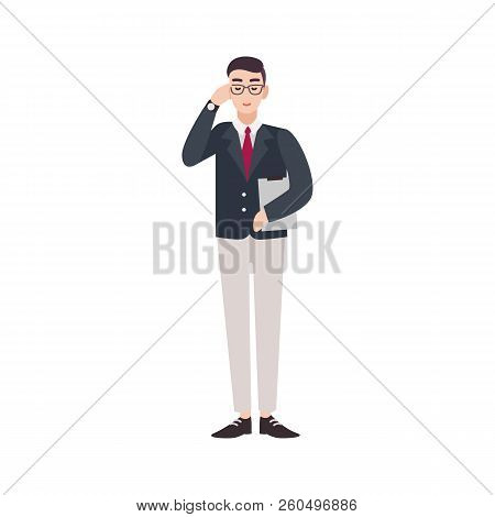 Politician, government worker, public servant, official or delegate dressed in smart suit. Funny male cartoon character isolated on white background. Colorful vector illustration in flat style. poster