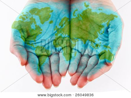 Painted world on hands. Isolated on a white background