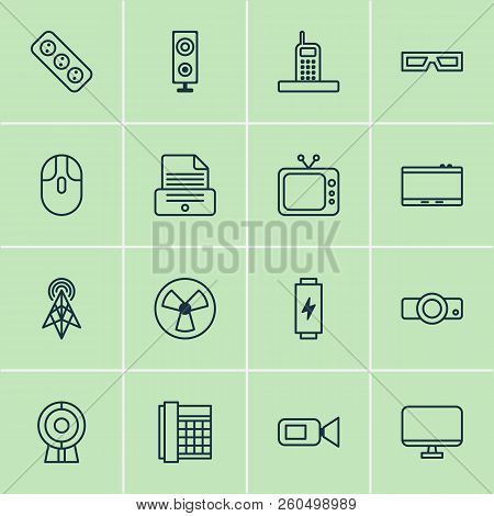 Gadget Icons Set With Loudspeaker, Socket, Screen And Other Presentation Elements. Isolated Vector I