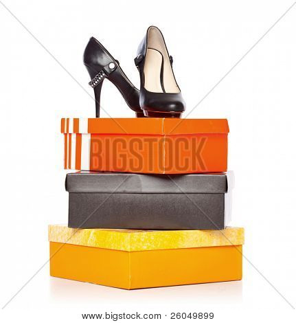 fashion shoes on the boxes. isolated on a white background poster