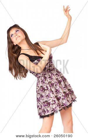 Young woman is putting her hands up. Isolated on white background
