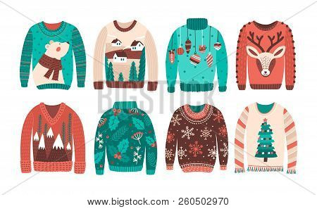 Bundle Of Ugly Christmas Sweaters Or Jumpers Isolated On White Background. Set Of Seasonal Knitted W
