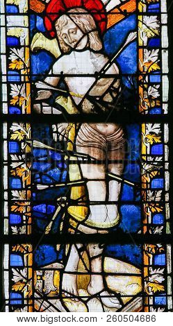 Saint Sebastian - Stained Glass In Rouen Cathedral