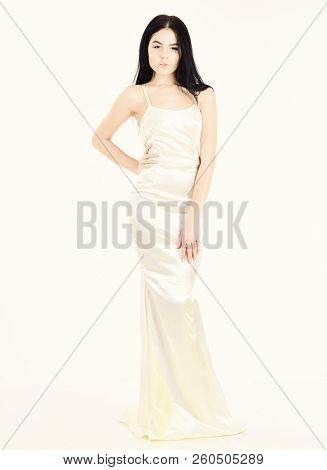 Femininity Concept. Fashion Model Wears Expensive Fashionable Evening Dress Or Wedding Dress. Girl O
