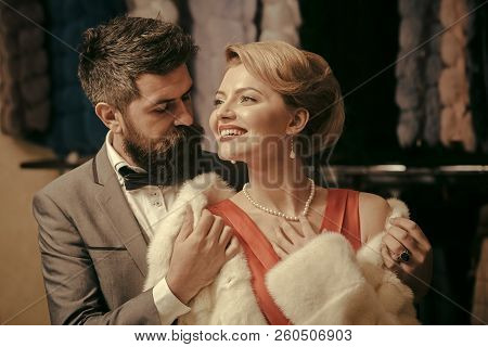 Fashion And Beauty, Winter, Fur. Date, Couple, Love, Man And Woman. Couple In Love Among Fur Coat, L