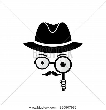 Unknown Man With A Mustache In Hat, Spectacles And A Magnifying Glass In Hand. Inspector. Detective