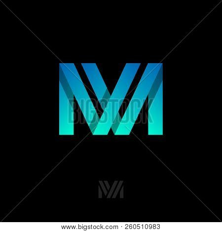 M Origami Letter. M Gradient Ribbons Monogram. M Logo, Isolated On A Dark Background. Monochrome Opt
