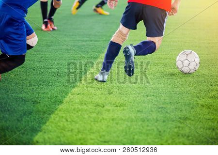 Soccer Players Trap And Control The Ball For Shoot To Goal.