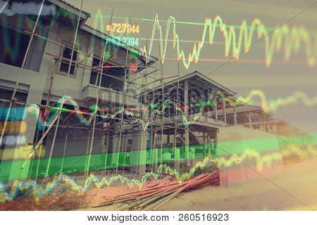 Economic Growth Of Real Estate Or Construction With Concept Stock Market