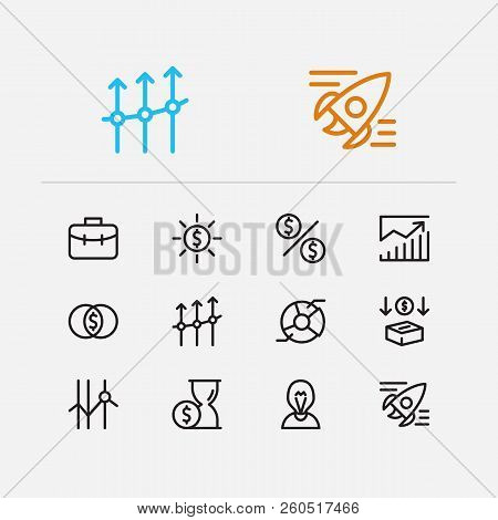 Economy Icons Set. Time Money And Economy Icons With Business Progress, Startup And Mutual Funds. Se