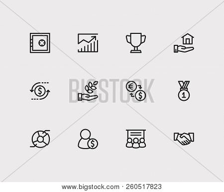 Economy Icons Set. Agriculture Investment And Economy Icons With Broker, Exchange And Cooperation. S
