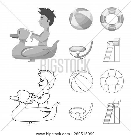 Vector Illustration Of Pool And Swimming Logo. Set Of Pool And Activity Stock Symbol For Web.