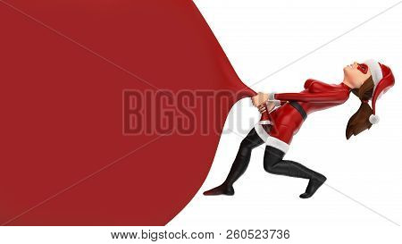 3d Christmas People Illustration. Woman Superhero Pulling A Huge Gift Bag. Blank. Isolated White Bac