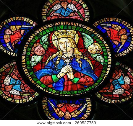 Mother Mary - Stained Glass In Leon Cathedral, Spain
