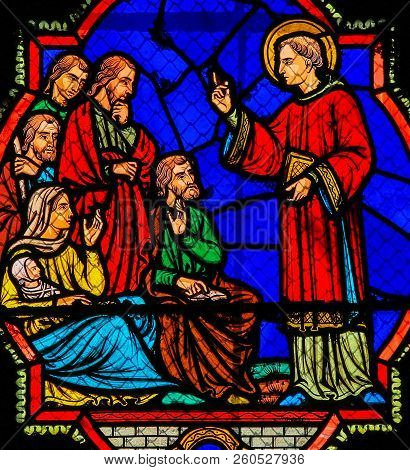 Preaching Saint - Stained Glass In Tours Cathedral