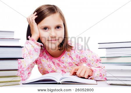 Young student girl reading a book isolated on white background