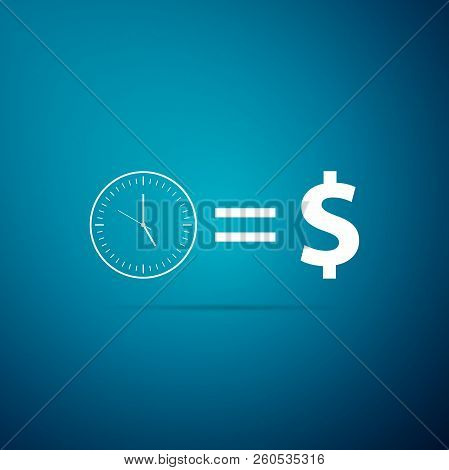 Time Is Money Sign Icon Isolated On Blue Background. Money Is Time. Effective Time Management. Conve