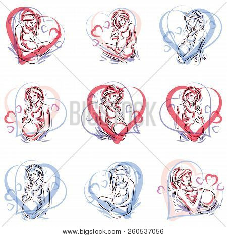 Collection of vector hand-drawn illustration of pregnant elegant woman expecting baby, sketch. Love and fondle theme. poster